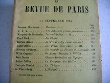 LA REVUE DE PARIS n° 18 - 1934 revue littéraire MONTCALM COPPENS PEARL BUCK etc