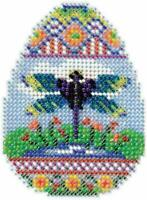 MILL HILL GLASS BEAD MAGNET KIT Beaded Cross Stitch DRAGONFLY EGG Easter