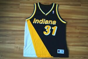 VINTAGE 90'S CHAMPION #31 REGGIE MILLER INDIANA PACERS STITCHED JERSEY 44 RARE