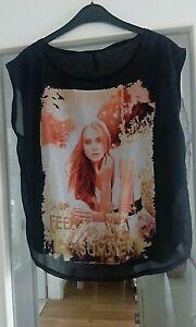 Amisu Damen T-Shirt, schwarz, Gr. S