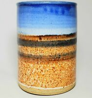 "Dublin Pottery Stamped Studio Art Vase Planter Drip Glaze 7"" Beach Abstract VGC!"