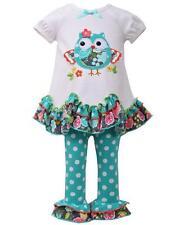 New Girls Bonnie Jean sz 12m Ivory Aqua OWL Leggings outfit Dress Clothes Fall