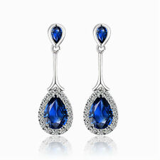 White Gold Plated & Dark Sapphire Blue Zircon Stud Drop Dangle Earrings E983