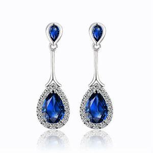 White Gold Plated & Dark Sapphire Blue Zircon Stud Drop Dangle Earrings E983