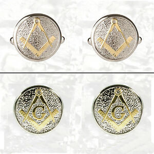 Masonic Cuff links Two Tone Pewter and Gilded Gold With Or Without G