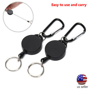 2PCS Retractable Key Tool Reel Holder Steel Clip Chain Belt Heavy Duty Split US