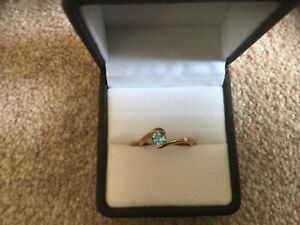 Gold Ring with Topaz Stone  - Size N