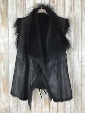YVES SALOMON Black Overlapping Drape Raccoon Rabbit Fur Vest Gilet Jacket 38 M