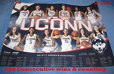 2016-17 UCONN WOMEN TEAM PHOTO SEASON SCHEDULE POSTER---111 WINS IN A ROW!!