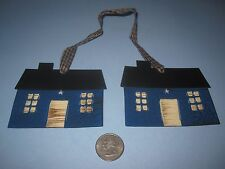 RUSTIC PUNCHED TIN SALTBOX HOUSE ORNAMENT ~PRIMITIVE COUNTRY DECOR CRAFT BLUE
