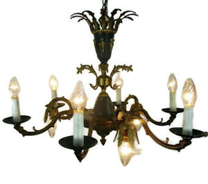 Vintage French Empire Pan Chandelier Green Tole Brass 9 lights Crown Snakes HTF