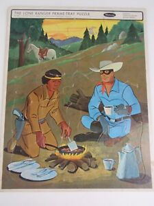 Vintage 1967 Whitman The Lone Ranger Frame Tray Puzzle Tonto Camping Scene Horse