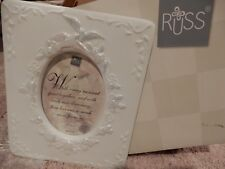 Russ White Lace And Promises Porcelain Bisque Wedding Day Doves Photo Frame Nib