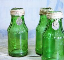 Bottles/Jars/Green Glass/HitchCock/Vases/Embellished/Shabby Cottage/BoHo Chic/ 3