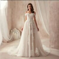 UK Champagne Ivory Lace Off Shoulder A Line Real Beach Wedding Dresses Size 6-18