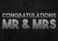Congratulations Mr and Mrs Confetti Wine bottle label sticker gift wedding chalk