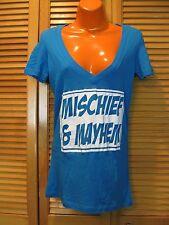 Screen Printed V Neck T-Shirt, Mischief & Mayhem, Sz S Ladies Blue Soft Cotton