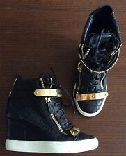 EUC Giuseppe Zanotti Croco Black Gold Wedge Sneakers Size 38