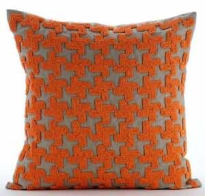 """Orange Decorative 18""""x18"""" Throw Pillowcase Silk, Lattice - Orange Terracota"""