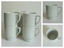 6er Set Kaffeebecher 250ml weiß stapelbar Porzellan/Keramik Becher Tasse Pott