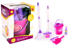 Girls Role Play Cleaning Cleaner Toy Pink Bucket Dust Pan Brush Toy Set Kids