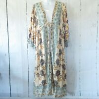 New Angie Duster Kimono S Small Ivory Paisley Floral Tie Front Boho Peasant