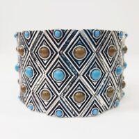 Premier Designs Bracelet Stretch Arizona Southwest Blue Antiqued Silver