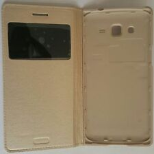 Golden Color S-View Sensor Leather FLIP COVER CASE for Samsung Galaxy Grand 2
