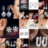 925 Sterling Silver Crystal Stud Round Earrings Wedding Jewelry Womens Studs