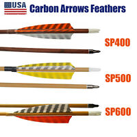 30in Archery Feather Carbon Arrows Spine 400/500/600 Wooden Skin Shaft Taregting
