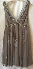 PHILOSOPHY DI ALBERTA FERRETTI Gray Silk Jewel Embellished Dress~Size 4~Italy