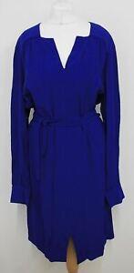 L.K.BENNETT Ladies Ultra Blue V Neck Brindi Belted Shirt Dress Size UK14 EU42