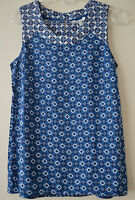 NEW FAT FACE BLUE GEOMETRIC BATIK PRINT SLEEVELESS TOP VEST UK 6 8 12 14