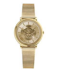 Womens Ion Plated  Yellow Gold Versace Watches V-Circle Lady VE8102219