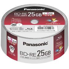 30 Panasonic Rewritable Blu Ray Discs Bd-re 25gb 2x Speed Inkjet Printable Disk