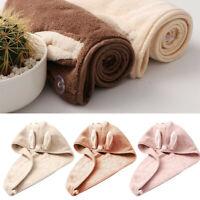 Cute Rabbit Ear Coral Velvet Microfiber Hair Dryer Quick Dry Towel Bath Wrap ld