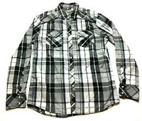 BKE Mens Gray Plaid Long Sleeve Front Pocket Pearl Snap Shirt Size Medium
