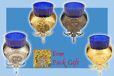 Metal Oil Candle Traditional Orthodox Grapes or Byzantine Eagle  + FREE Wicks