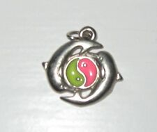 Silver Tone Two Dolphin Encircling Enamel Pink & Green Yin Yang Necklace Pendant