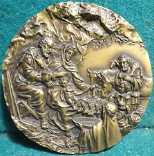 NATIVITY - CRÈCHE ADORATION OF THE SHEPHERDS / ANGELS X-MAS 89mm BRONZE MEDAL