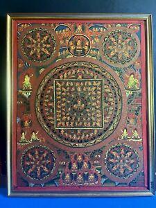 Framed Tibetan Hand Painted Buddhist Mandala Thangka