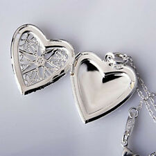 Gift Silver Plated Love Heart Valentine Lover Locket Chain Necklace Pendant