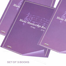 3 X  A4 Music Manuscript Sheet Note Books Size 24 Page 12 Stave Notation Paper