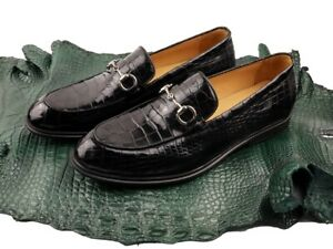 Men's Shoes Genuine Crocodile Alligator Skin Leather Handmade Black, Size 7-11US