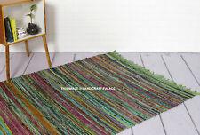 Verde Pile Chindi Cotone a Righe Pezza Tappeto 105 X 170 CM Stile Shabby Scandi