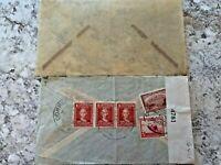 Vintage Postage Envelope 1942 -  Ecuador to New York City - Rare Marks/Stamps