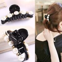 Women Girl Pear Beads Crystal Hair Clip Rhinestone Hairpin Claw Clamp Headwear