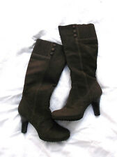 Sofft Boots Womens Size 7.5 EXC Condition Brown Nubuck Leather Tall Vondra Heels