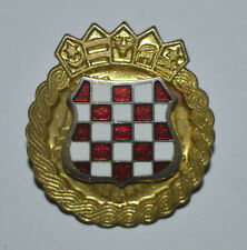 Croatia Croatian Army ZNG crest coat of arms 90s war time enamel cap hat badge