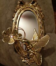 Vintage small gold oval wall Mirror w gold metal hummingbird & flower, bows OOAK